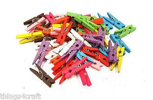 MINI-CHIODINI-3cm-colore-misto-piccole-in-legno-Peg-Fascetta-clip-legno-UK-Venditore