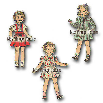 """Composition Patsy Vintage 1930s Doll Clothes Pattern ~ 13/"""" 14/"""" ShirleyTemple"""