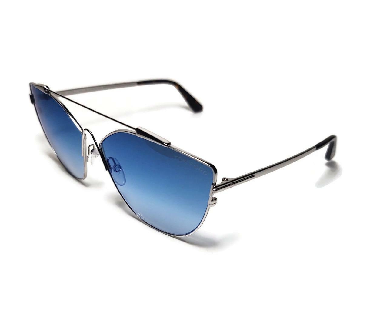 TOM FORD JACQUELYN 0563 18X Femmes surdimensionné Cat Eye Lunettes de soleil argent miroir bleu