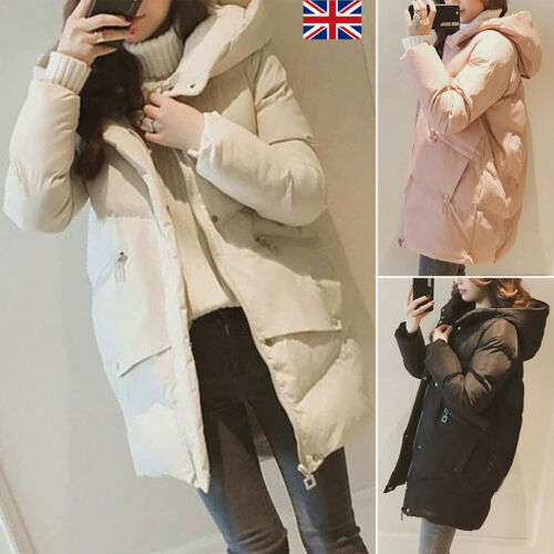 Womens Padded Puffer Down Coat Hooded Long Jacket Winter Warm Zip Parka Outwear