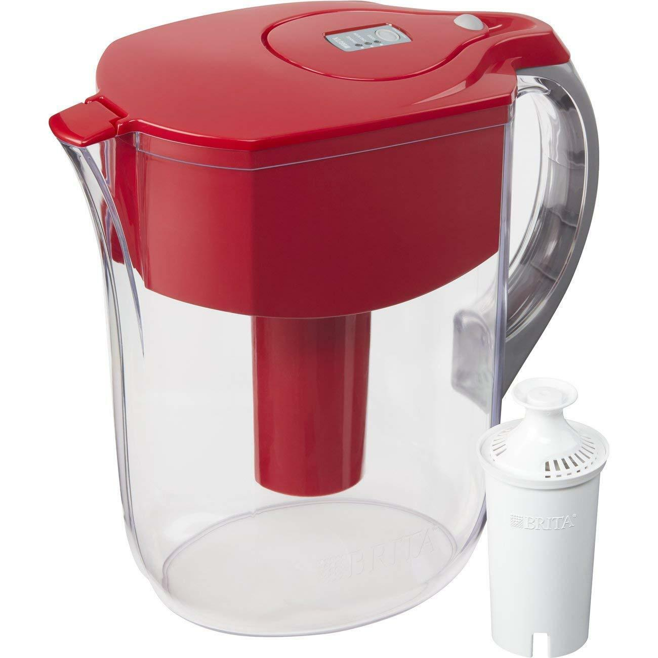 Brita Large 10 Cup Grand Water Pitcher with Filter - BPA Free - Red FAST SHIP