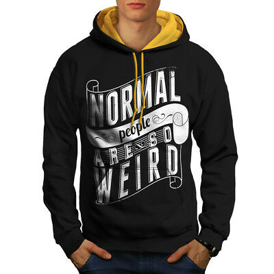 Gehorsam Wellcoda Normal Is Weird Slogan Mens Contrast Hoodie, Funny Casual Jumper Fein Verarbeitet