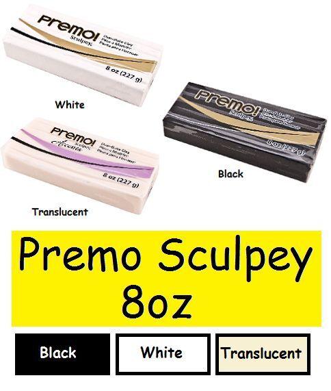 PREMO SCULPEY 8 oz Polymer Clay CHOOSE COLOR Black White Translucent