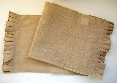 "13"" x 36"" Ruffled 100% Jute Burlap Table Runner Country Farmhouse Chic"