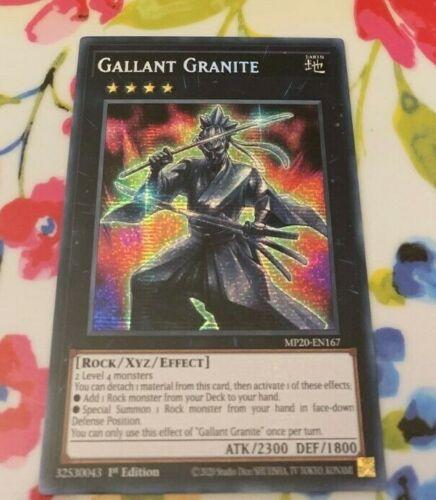 MP20-EN167 1st Edition YuGiOh NEW Gallant Granite Prismatic Secret Rare