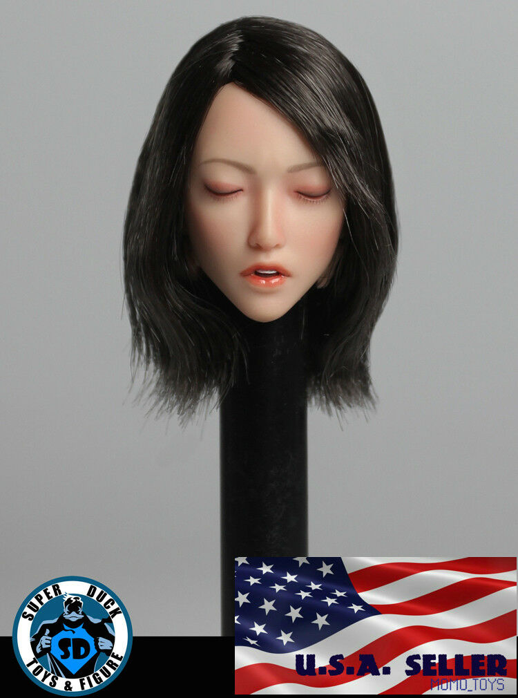 1 6 Asian Female Head Sculpt Closed Eye SDH009B For PHICEN Hot Toys Figure ❶USA❶
