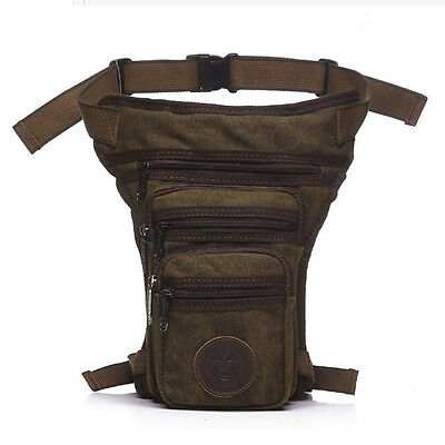 Men Canvas Travel Motorcycle Riding Belt Hip Bum Fanny Pack Waist Drop Leg Bag