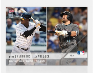 2018 TOPPS NOW #158 NAMED AL /& NL PLAYERS OF THE MONTH DIDI GREGORIUS//AJ POLLOCK