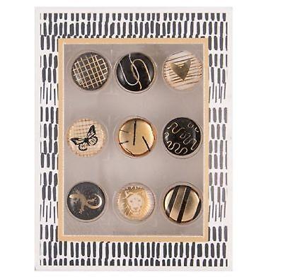 Motiv Design Reißzwecken Büro 9 Stück Set HERZEN Pinnwand Nadeln Memoboard gold