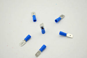 1000PCS Blue Male Insulated Spade Electrical Wire Crimp Terminal 16-14AWG 6.3mm