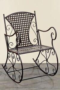 Das Bild Wird Geladen Schaukelstuhl Konya Eisen Metall Braun Nostalgie  Gartenmoebel Stuhl