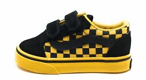 Vans Unisex Baby Old Skool V Sneakers Mono Check Black / Yellow Size 5T