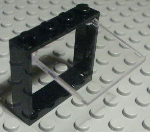 579 Lego Fenster 1x4x3 Schwarz mit Transparenter Kipp Scheibe
