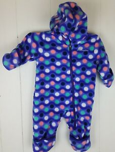 85db9a1cad29 Details about Columbia Fleece Snowsuit Infant Snowtop II Bunting Purple  polka dot 3-6 months