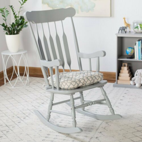Beige Blue Gray Modern Geometric Print Rocking Chair Seat Cushion Pad With Ties