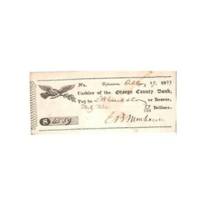 1833-OTSEGO-COUNTY-BANK-CHECK-WITH-EAGLE-COOPERSTOWN-NY-AA793SSC12