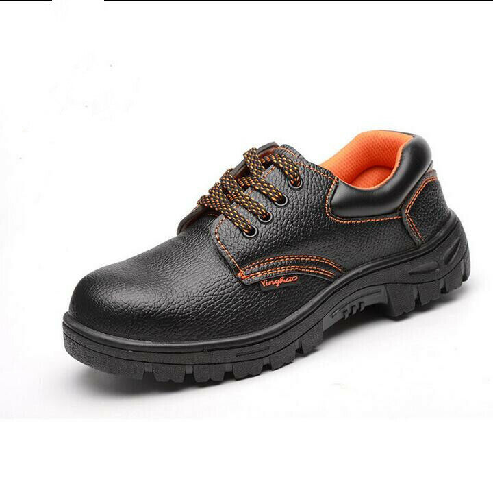 Men's Leather Safety shoes Steel Toe Low Upper Work Boots For Spring Autumn