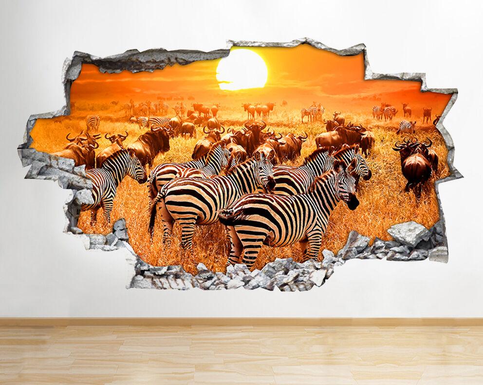 Q700 Zebra Stripes Sun Safari Disinvolto  adesivo da parete camera bambini
