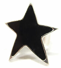 SoHo® Ring schwarzer Stern Kunstharz black retro resin gothik punk star schwarz