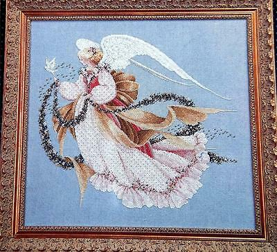 VICTORIAN ANGEL Holding Garland of Flowers Dove Counted Cross Stitch Chart