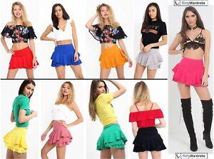 Womens-SKORTS-Ladies-Multi-Layered-Frill-Hem-Shorts-Mini-Skirt-Shorts-SKORT-Wrap