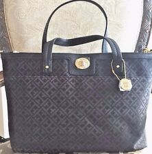 NWT Tommy Hilfiger Monogram Convertible Shopper Handbag BLack