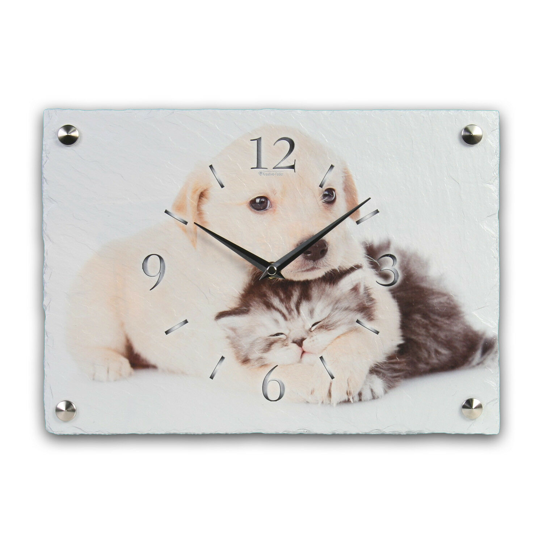 Amor animal perro gato radio reloj de parojo radiocontrolado silencioso de pizarra-muelle creativas