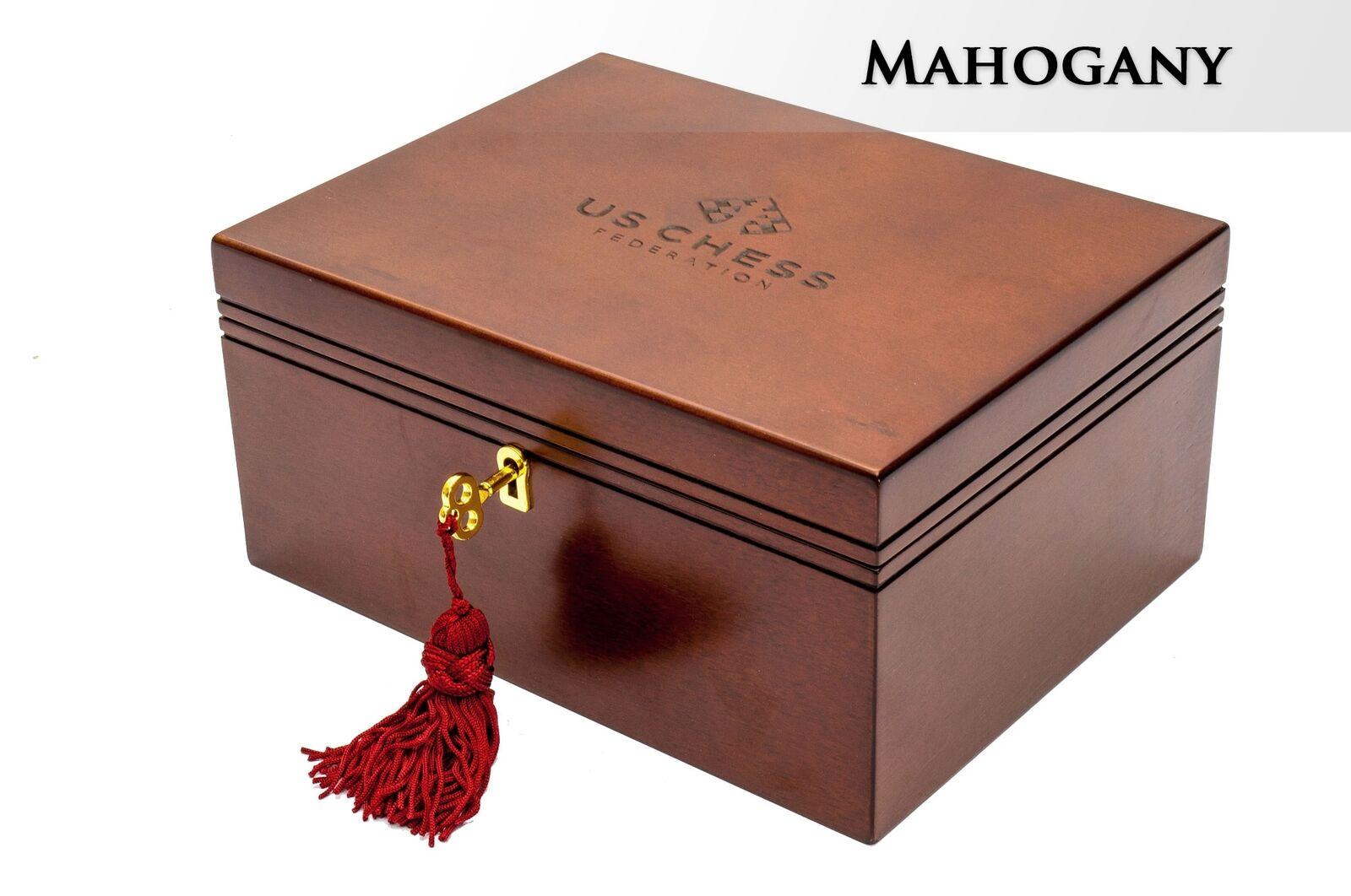 Premium Chess Box, Mahogany, med US CHESS Logo