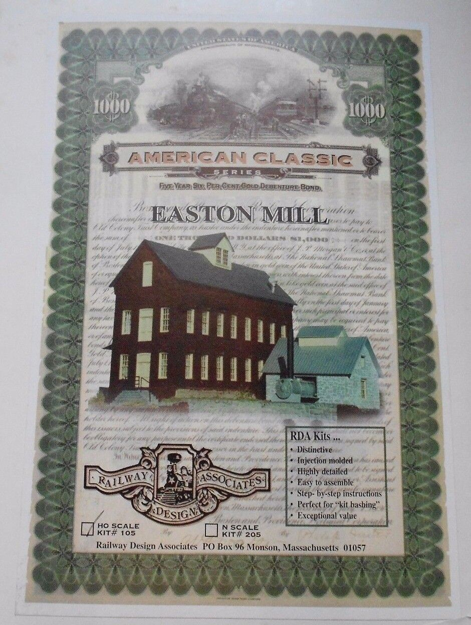 RAILWAY DESIGN ASSOCIATES EASTON MILL HO GAUGE PLASTIC KIT NIB