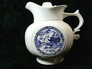 Vtg MCCOY Pitcher Cookie Jar Blue Willow White Blue #202 USA w Lid Pottery Clean