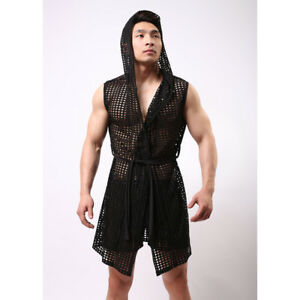 Men-Bathrobe-Sexy-Perspective-Fishnets-Casual-Home-Clothes-Hooded-Nightgowns