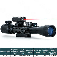 3-9X40EG Illuminated Tactical Rifle Scope with Red Laser & Holographic Dot Sight