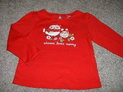 Gymboree Cozy Owl Toddler Girl Whoooo Loves Mommy Red Shirt Top Size 4T 4 Winter