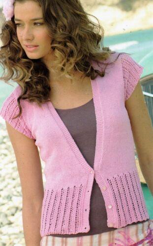 "R426 Bottines Femme Coton 4ply Cardigan 32-42/"" Tricot Vintage Pattern"