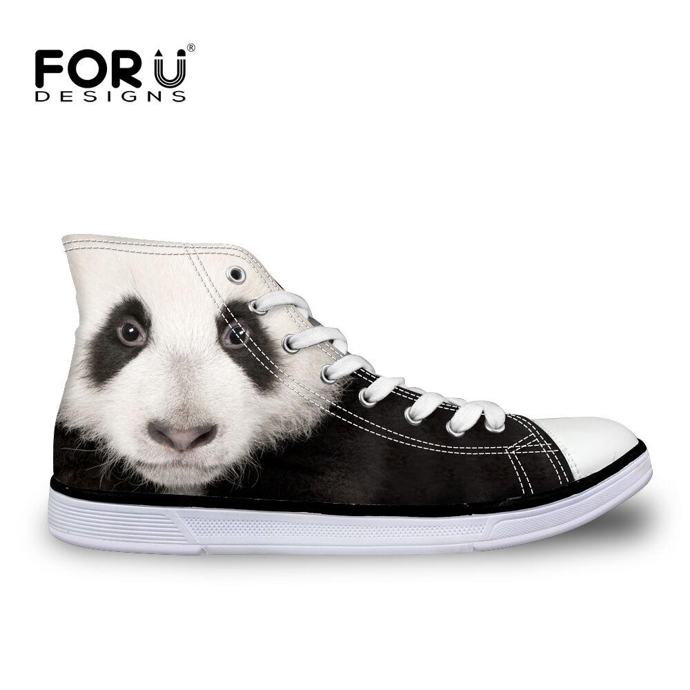 Cool Panda Shark Mens Hi Top Casual Canvas Sport Sneakers shoes Smart Trainers