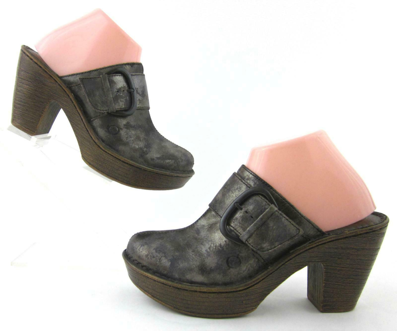 Born 'Ibra' Platform Slide Clogs Mgold Mgold Mgold Metallic Leather US 8 Fantastic Condition 4457a0