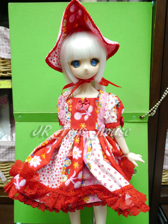1 4 BJD Muñecas Vestido Lolita Flor Roja Det VOLKS Mini Super Dollfie MDD SDM