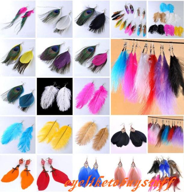 Natural Fashion Goose Peacock Feather Dangle Chandelier Boho Hook Earrings