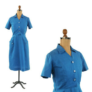 Vintage-50s-Blue-Soft-Rayon-Short-Sleeve-Hourglass-Mid-Century-Day-Dress-M