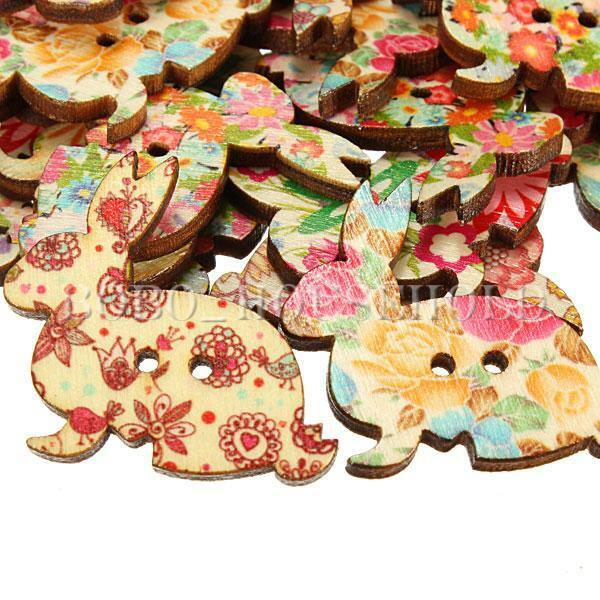 50/100Pcs Mixed Rabbit Wooden Sewing Buttons 2 Holes Scrapbook Cardmaking Craft
