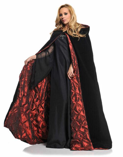 """Gothic Black Red 63"""" Velvet Satin Cape Vampire Adult Halloween Costume-Os"""