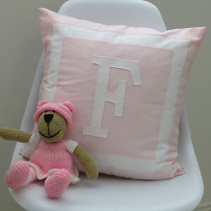 Girls-Baby-039-s-Personalised-Cushion-Cover-Monogram-Style-Initial-Choose-Colour
