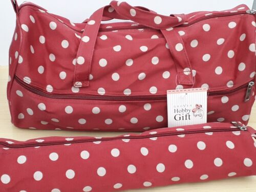 BNWT-Hobby Gift-Red Polka Dot Design Fabric-Craft//Knitting Bags and Pin Cases