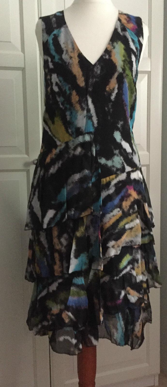 Matthew Williamson For h&m h&m h&m abito dress volant Abito seta silk EUR 40 Dimensione US 10 02f1c0
