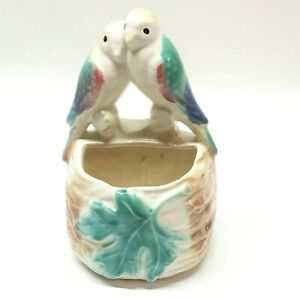 Love-Birds-Wall-Pocket-Flower-Planter-Vase-Ceramic-Vintage
