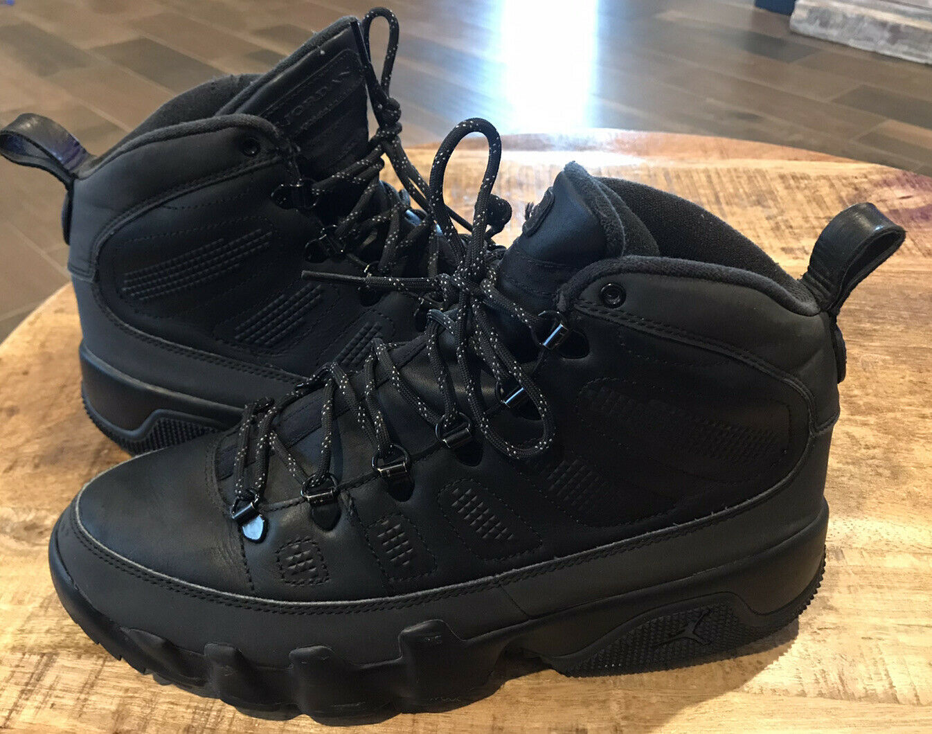 black jordan 9 boots