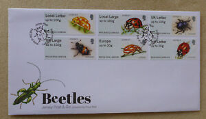 2016-JERSEY-PEEL-amp-GO-BEETLES-SET-OF-6-STAMPS-FDC-FIRST-DAY-COVER