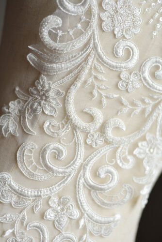 Embroidery Lace Applique Off White Beaded Motif Wedding Dress Accessories 1 PC