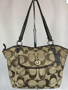 COACH F14659 Leah Brown Khaki Signature Canvas Purse Handbag Shoulder Bag
