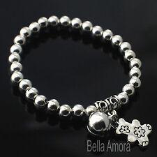 925 Silver Pltd Teddy Bear Bell Charm Bead Ball Stretch Bangle Bracelet Gift B6